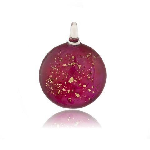 SWN520 - Purple Glass Round Gold Fleck Pendant Necklace