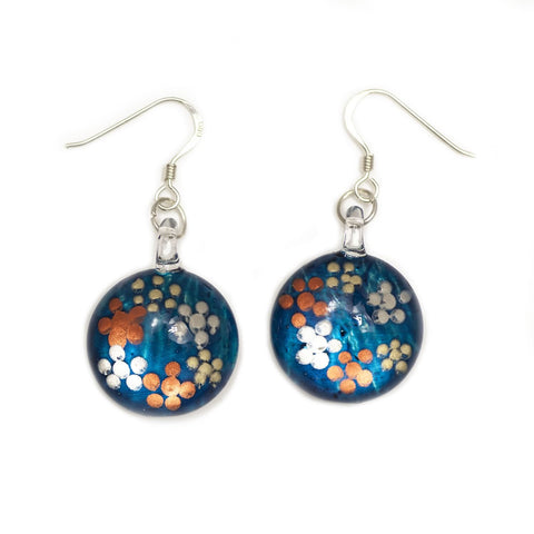 SWE525 - Blue Glass Round Dotted Drop Earring