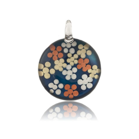 SWN525 - Blue Glass Round Dotty Pendant Necklace