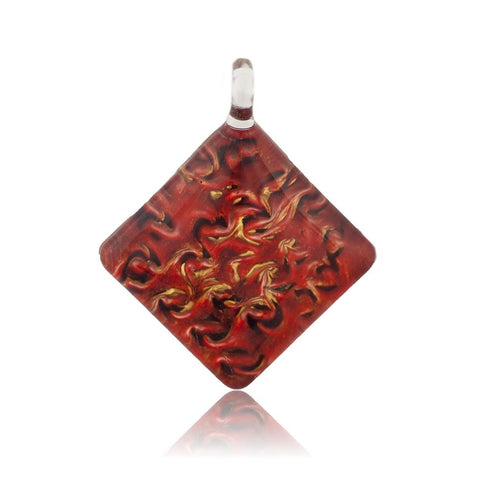SWN504 - RED GLASS DIAMOND PENDANT NECKLACE