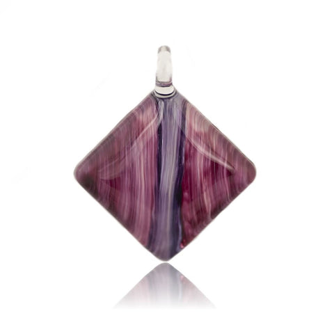 SWN512 - Purple Glass Teardrop Sparkle Pendant Necklace