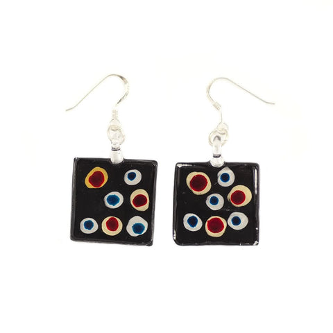 SWE508 - Black Glass Square Multi-colour Dot Drop Earring