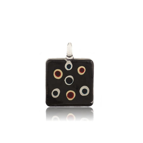 SWN508 - BLACK GLASS SQUARE COLOURED DOTS DESIGN PENDANT NECKLACE