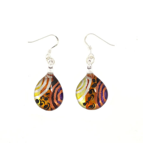 SWE506 - MULTI COLOURED GLASS TEARDROP DROP EARRING