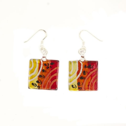 SWE505 -MULTI COLOURED GLASS SQUARE DROP EARRING