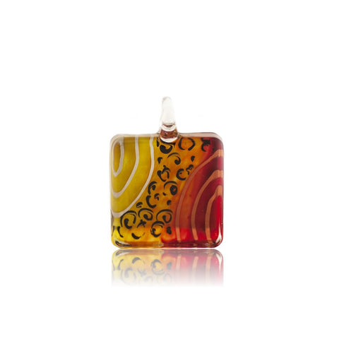 SWN505 - MULTI COLOURED  GLASS SQUARE PENDANT NECKLACE