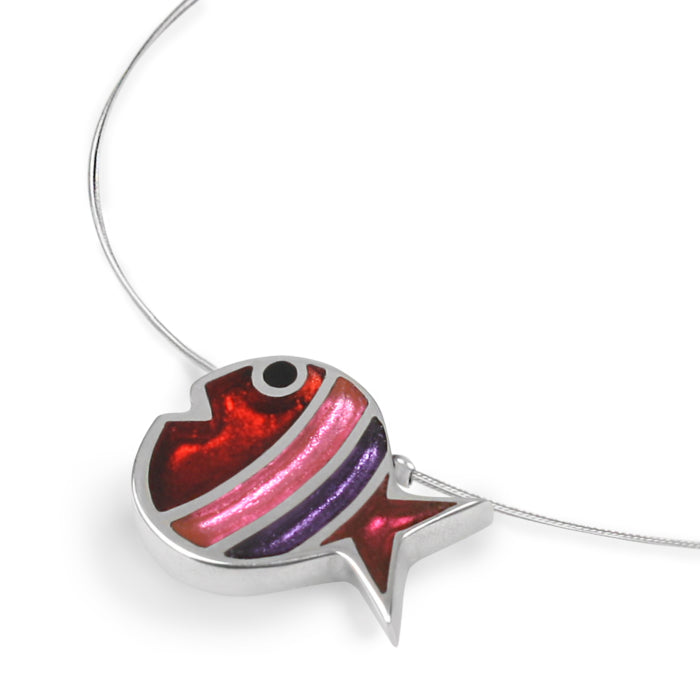 Red/Pink/Purple Coloured Resin Necklace