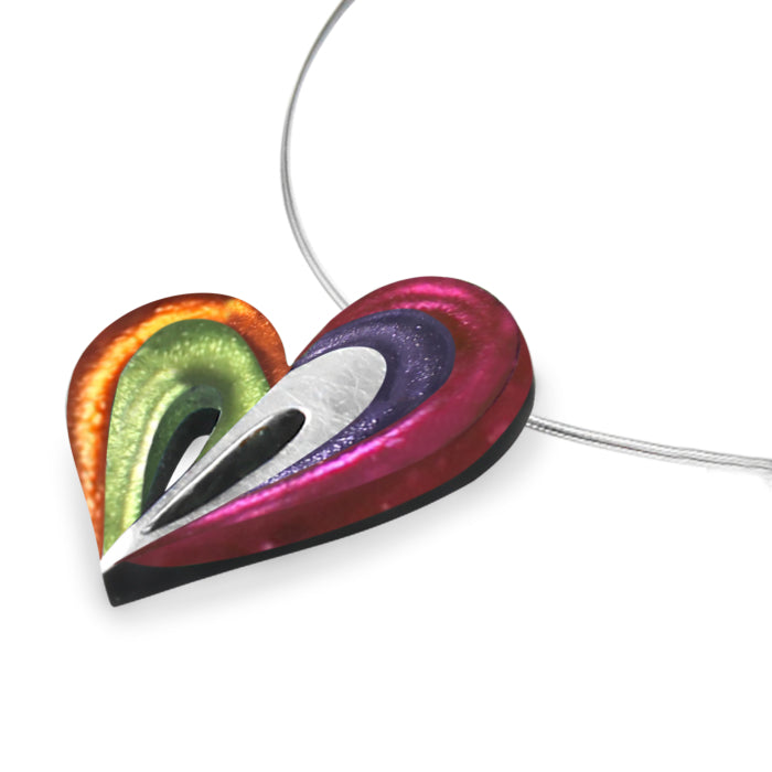 Multi Coloured Heart Resin Necklace