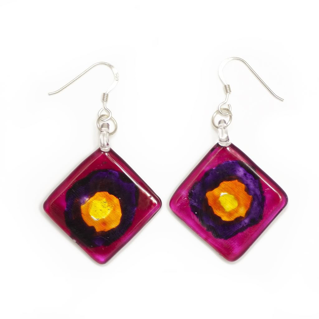 A beautiful hand-made lampwork glass earring individually painted. With sterling sliver hooks.