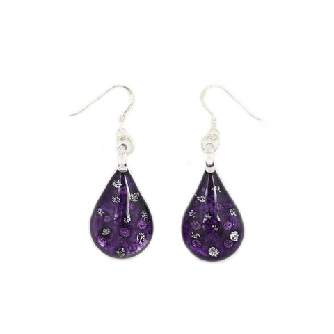 SWE509 - PURPLE GLASS TEARDROP SPARKLE DROP EARRING