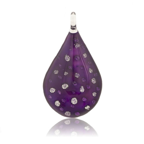 SWN509 - PURPLE GLASS TEARDROP SILVER SPARKLE PENDANT NECKLACE