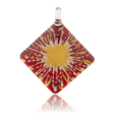 SWN513 - Red Glass Diamond Gold Splash Pendant Necklace