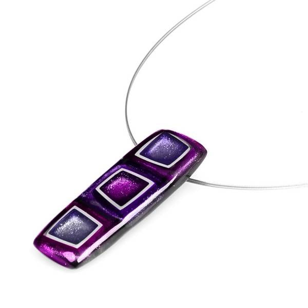 Purple Coloured Cubed Shaped Resin Necklace