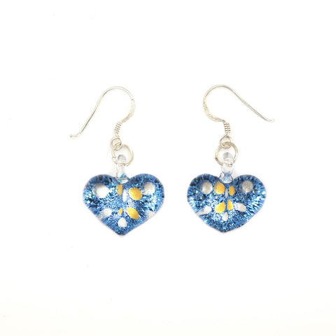 SWE515 - Blue Glass Heart Sparkle Spot Drop Earring