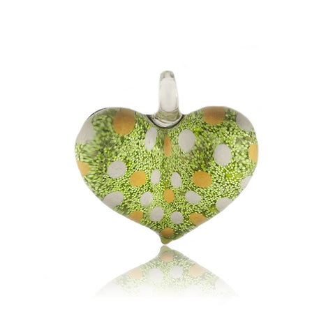 SWN518 - Green Glass Heart Dotty Sparkle Pendant Necklace