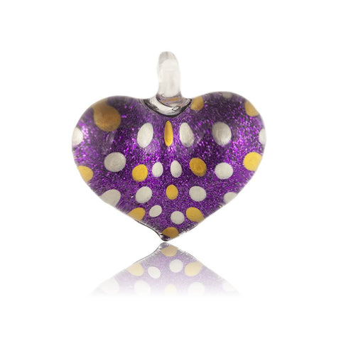 SWN517 - Purple Glass Heart Dotty Sparkle Pendant Necklace