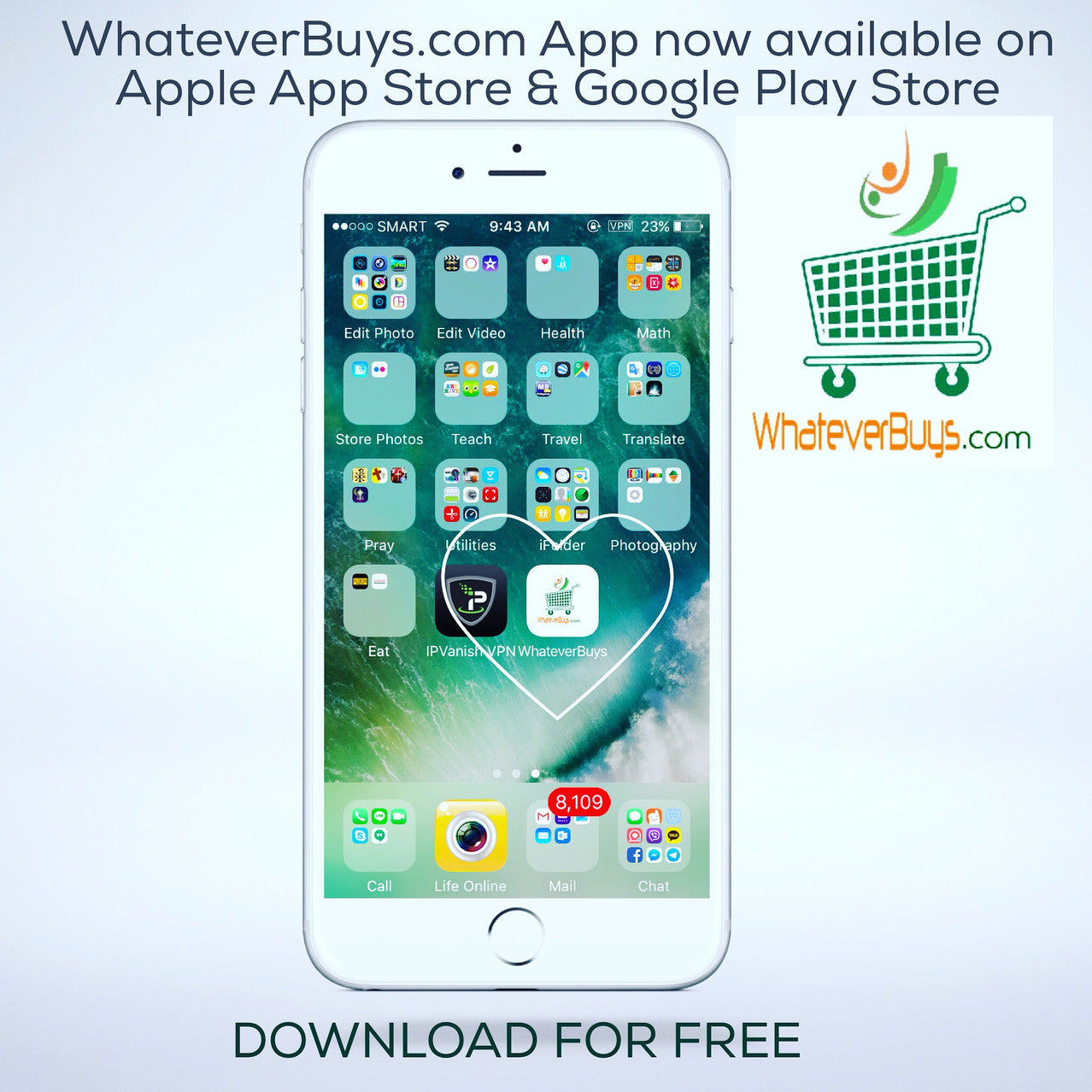 Download WhateverBuys.com App FREE on the Apple AppStore and Google Play Store