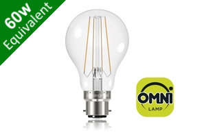 Filament Classic Globe (GLS) B22 6.2W (60W) Clear LED Light Bulb