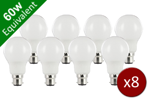 8 Pack for Classic Globe (GLS) B22 8.2W (60W) Frosted LED Light Bulb