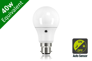 Daylight Auto Sensor Classic Globe B22 6.6W (40W) Frosted LED Light Bulb