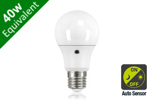 Daylight Auto Sensor Classic Globe E27 6.6W (40W) Frosted LED Light Bulb