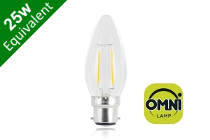 Filament Candle B22 2W (25W) Clear LED Light Bulb