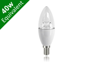 Candle E14 6W (40W Replacement) Clear LED Light Bulb