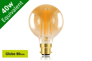 Vintage Filament Globe 80mm B22 5W (40W) Clear LED Light Bulb - Sunset