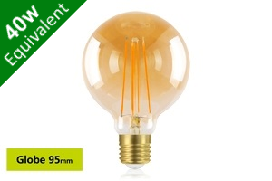 Vintage Filament Globe 95mm E27 5W (40W) Clear LED Light Bulb - Sunset