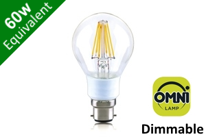 Filament Classic Globe (GLS) B22 7W (60W) Clear Traditional LED Light Bulb