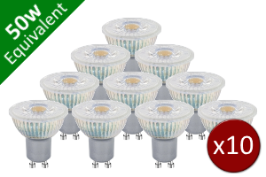 10 Pack for GU10 SMD 4.4W (50W) LED Retro / Glass Base Spotlight Bulb