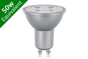 -- GU10 SMD 5.5W (50W Replacement) LED Retro / Silver Base Spotlight Bulb
