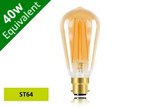 Vintage Filament ST64 B22 5W (40W) Clear LED Light Bulb - Sunset