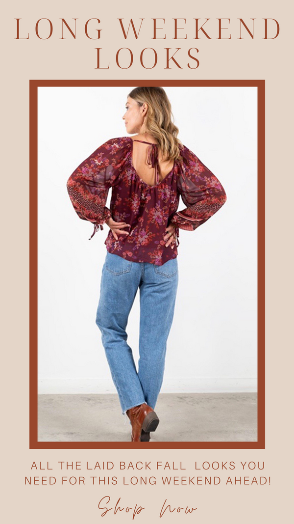 FLORAL BOHO BLOUSE LOVESTITCH FLOWY FALL TOPS