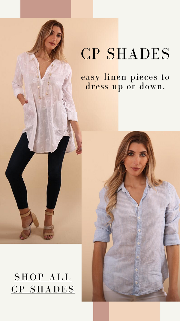 TETON TUNIC CP SHADES BUTTON UP WHITE LINEN SHIRT
