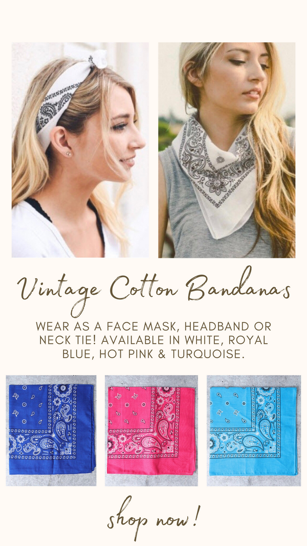 VINTAGE COTTON BANDANA MINT EXCLUSIVE PAISLEY FACE MASKS