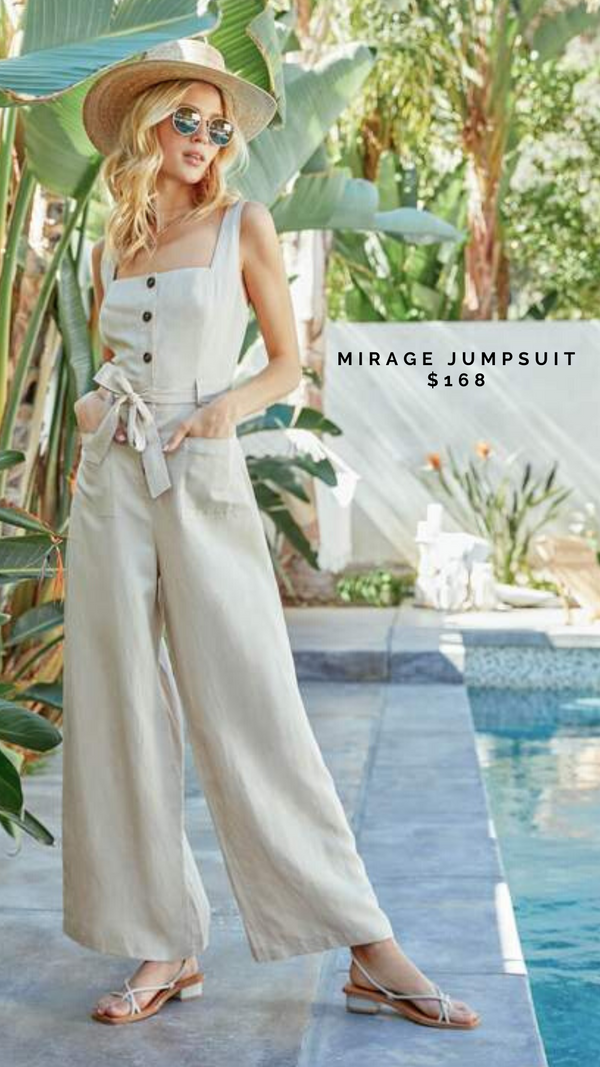 MIRAGE JUMPSUIT ASTR LINEN ROMPER WIDE LEG SMOCKED BACK SUMMER