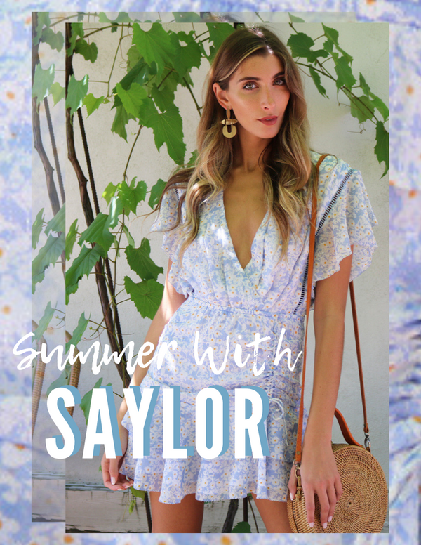 SAYLOR DRESSES V NECK RUFFLE FLORAL PRINTED BLUE MINI DRESS