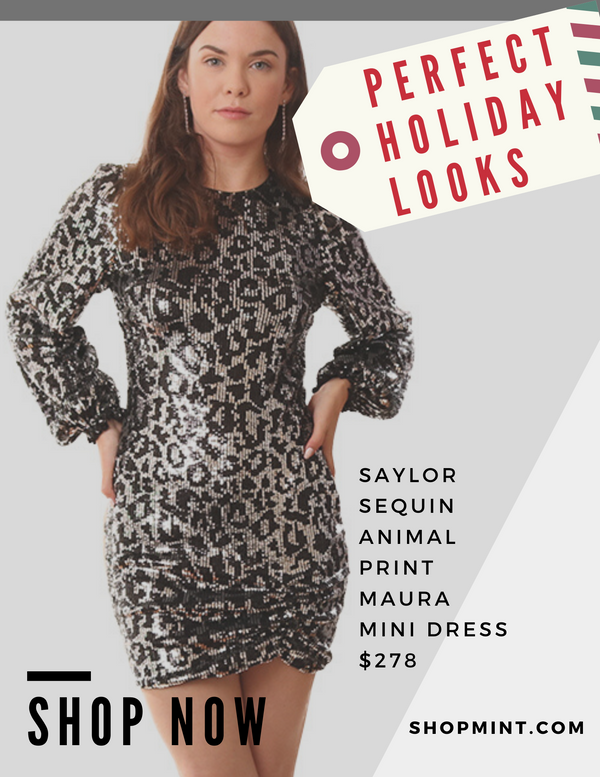 SAYLOR DRESSES LONG SLEEVE SEQUIN ANIMAL PRINT FORMAL SILVER BLACK MINI DRESS