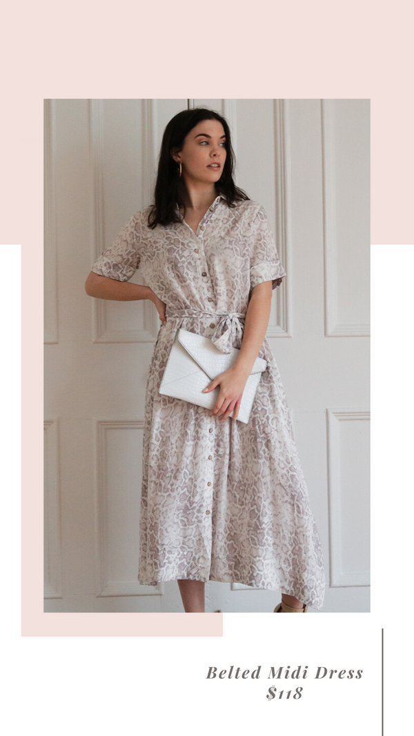 SNAKESKIN PRINT BUTTON FRONT SHORT SLEEVE BELTED MAXI DRESS