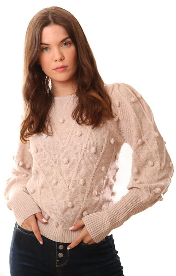 SWEATERS PUFF SLEEVES DOT BEIGE KNIT