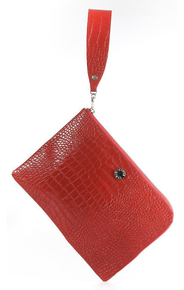 CIRCE HANDBAGS GENUINE LEATHER CROCODILE TEXTURE ZIP EDGE CLUTCH WITH RED WRIST STRAP