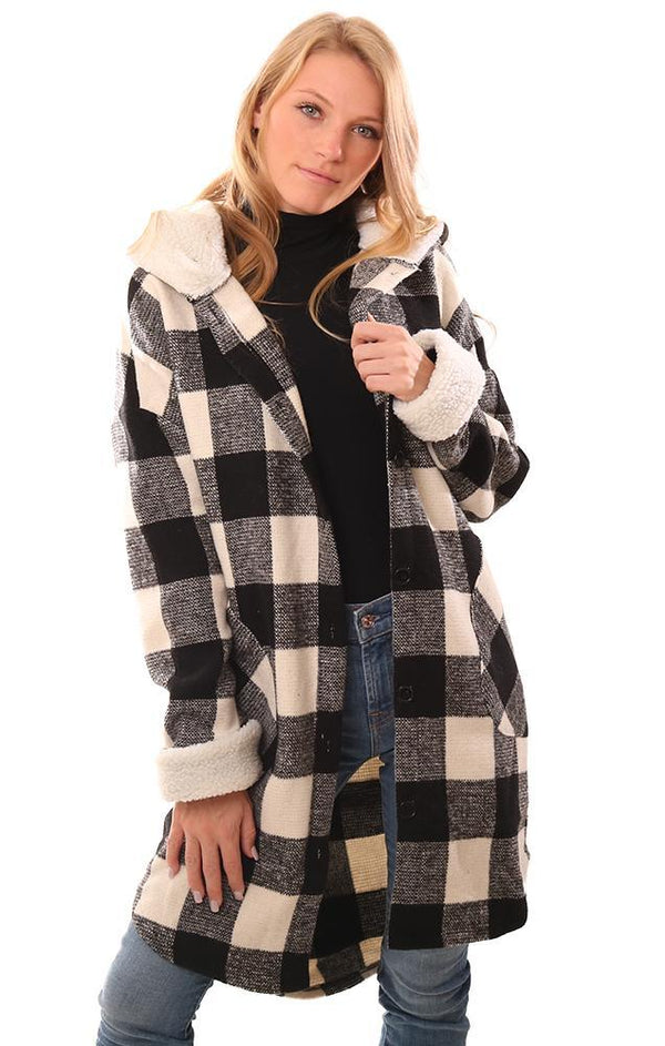 RD STYLE SWEATERS BUTTON FRONT FALL BLACK IVORY CHECK KNIT JACKET