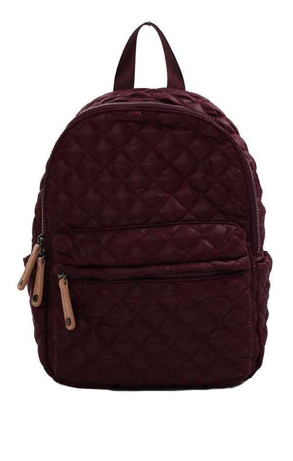 BACKPACKS QUILTED LIGHTWEIGHT FABRIC BURGUNDY MINI BACKPACK