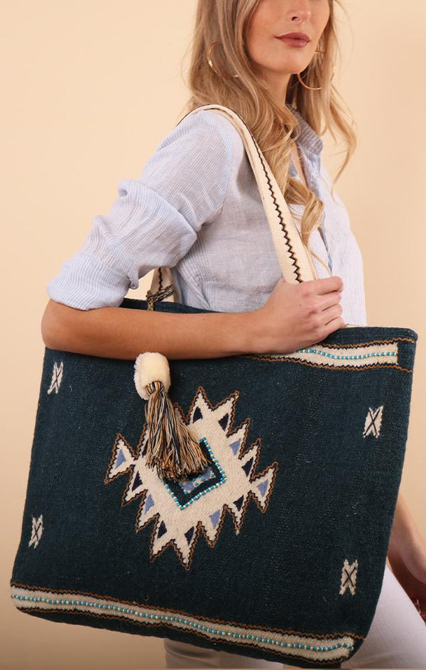 HAND LOOMED BEAD AND TASSEL TOTE MINT EXCLUSIVES BEACH AZTEC TOTE