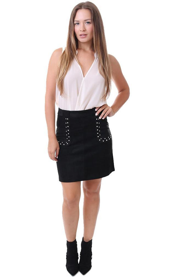 Bb Dakota Skirts Faux Suede Studded Black Mini