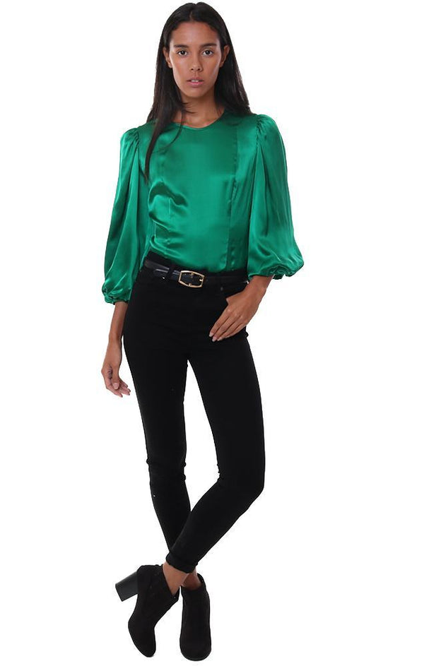 AMANDA UPRICHARD TOPS BLOUSON SLEEVES FITTED SILK CHIC GREEN DRESSY BLOUSE