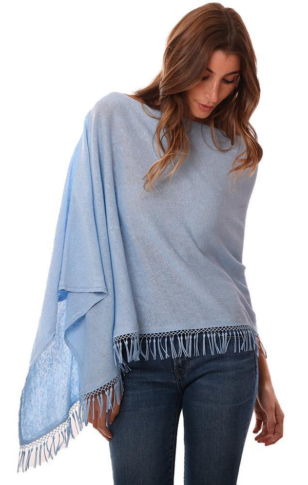 IN CASHMERE PONCHOS LINEN FRINGE TRIM LIGHT BLUE SHAWL TOPPER
