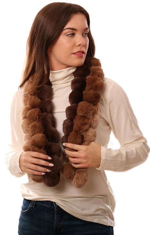 SCARVES GENUINE FUR POM POM BROWN SCARF
