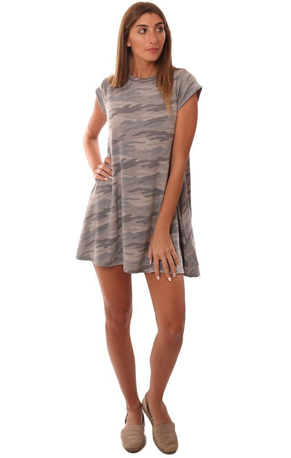 DRESSES SWING T-SHIRT SHORT SLEEVE CAMO PRINT FLOWY MINI DRESS